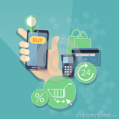 Free Online Shopping E-commerce Concept Mobile Shopping Button Royalty Free Stock Photo - 60801805