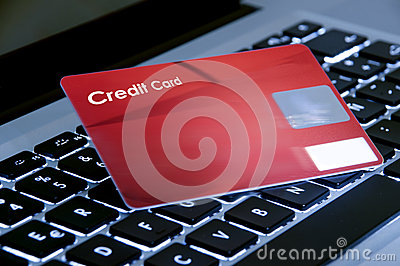 Online shopping, laptop and credit card