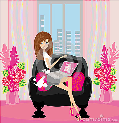 Online shopping -  smiling woman sitting with laptop