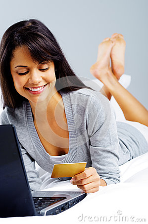 Online shopping woman