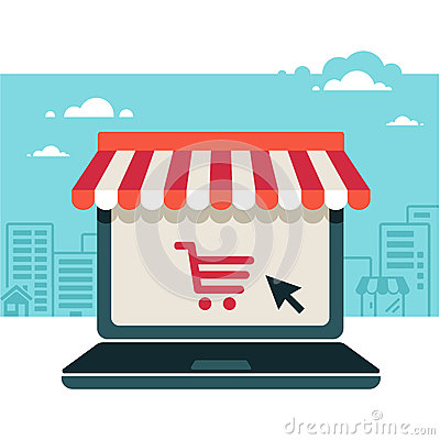 Free Online Store. Laptop With Awning Royalty Free Stock Images - 33782839
