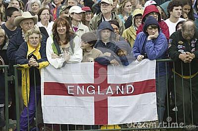 Onlooker displaying English Flag Editorial Stock Image