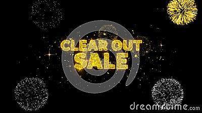 Ontruim uit verkooptekst onthult glitter golden deeltjes vuurwerk royalty-vrije illustratie