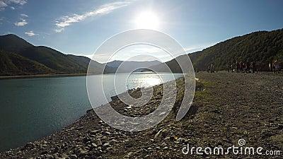 Ontruim zonnige dag en zonovergoten rivier in bergen, groep opzij mensen riverbank stock footage