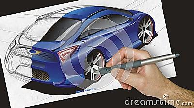 Ontwerper die een auto trekt