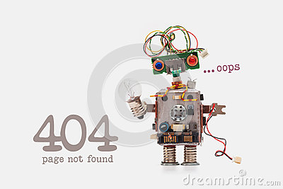 Oops 404 error page not found. Futuristic robot concept with electrical wire hairstyle. Circuits socket chip toy Stock Photo