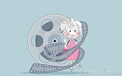 Oops... girl wrapped in a film reel