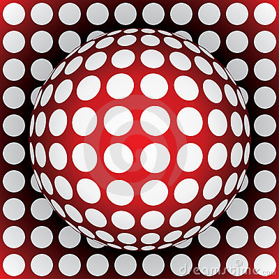 Op-art red sphere
