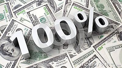100  op de dollarachtergrond