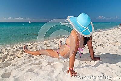 Op het Caraïbische strand