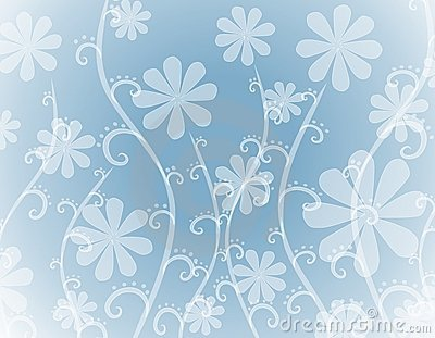 Opaque White Flowers on Blue Background