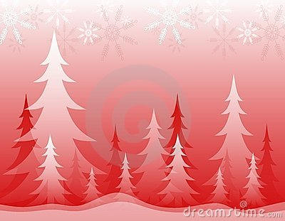 Opaque Winter Forest Red White