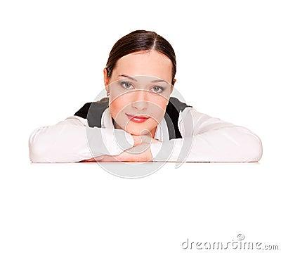 Oparta copyspace kobieta