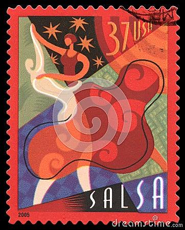Opłata pocztowa salsa znaczek usa Obraz Editorial