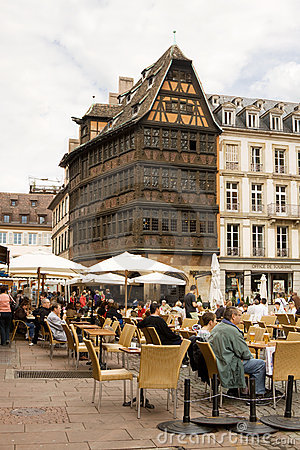 Open-air cafe on Cathedral square in Strasbourg Editorial Stock Image