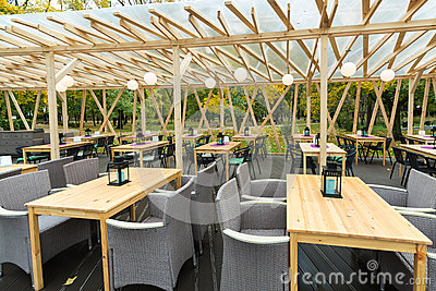 Open air Cafe Four Kitchens in the park Editorial Stock Image