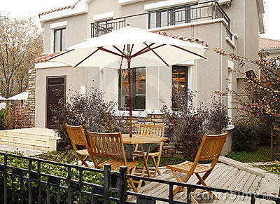 Open-air cafe in the villa