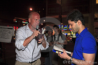 Open air preaching Editorial Photo