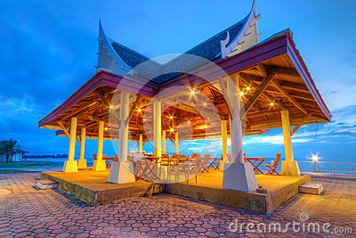 Open air restaurant at the sea in Thailand