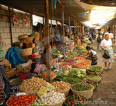 Daily open air vegetable market Antigua Guatemala Editorial Photography