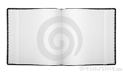 Open album with blank pages