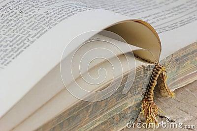 Open antique book detail
