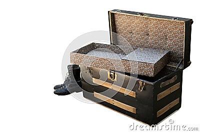 Open antique chest