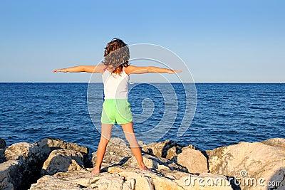 Open arms girl looking blue ocean sea feel freedom