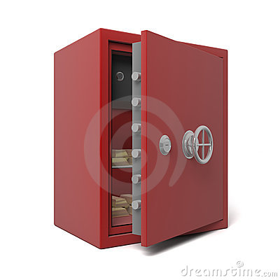 Open bank safe with gold