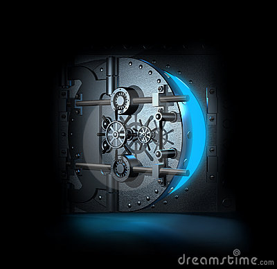 Open bank vault, 3D render
