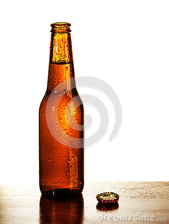 Open beer bottle