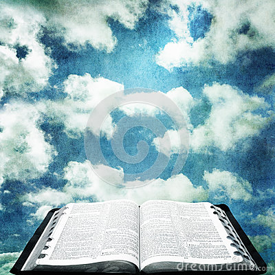 Open Bible with Grunge Sky