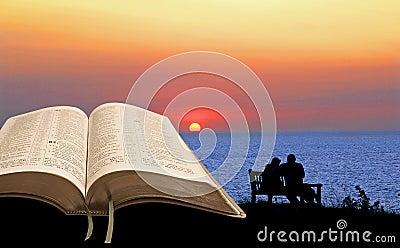 Open bible spiritual tranquility Stock Photo