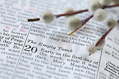 Open Bible with text in John 20 about resurrection