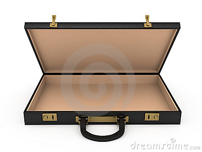 Open Black Case Over White Background Stock Photos - Image: 22883693