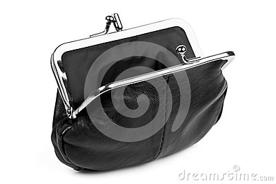 Open Black Change Purse