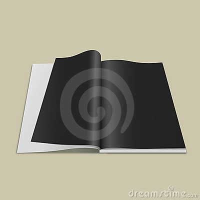 Open black page book, vector
