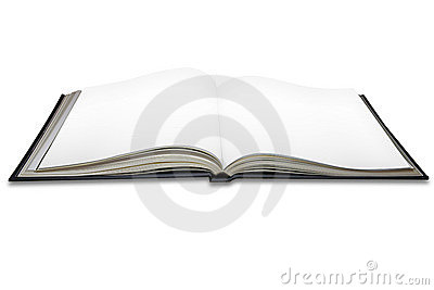 Open blank book pages