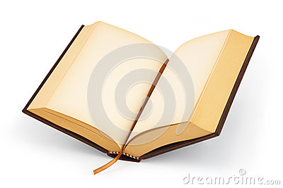 Open blank hardcover book - clipping path