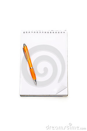 Open blank note pad with ring binder and ball pen