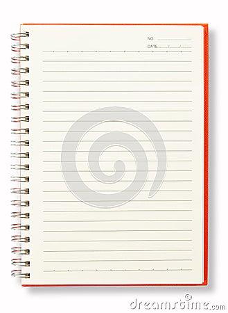 Open Blank Page Orange Note Book