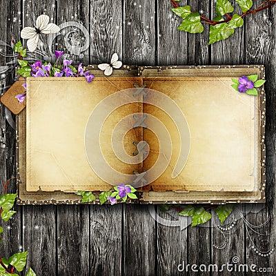Open blank vintage book