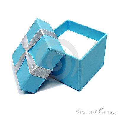 Open blue box for gifts