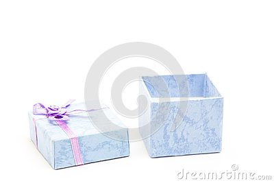 Open blue gift box with purple ribbon