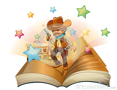 An open book with an armed cowboy