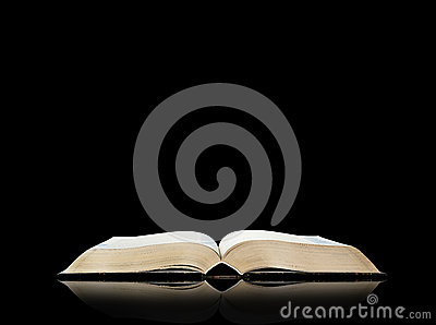 Open book, black background