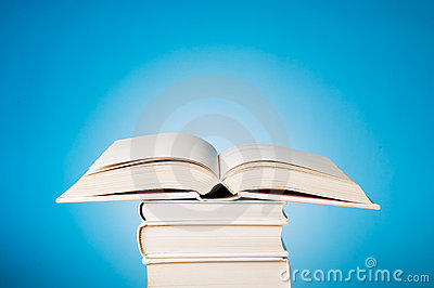 Open book on blue