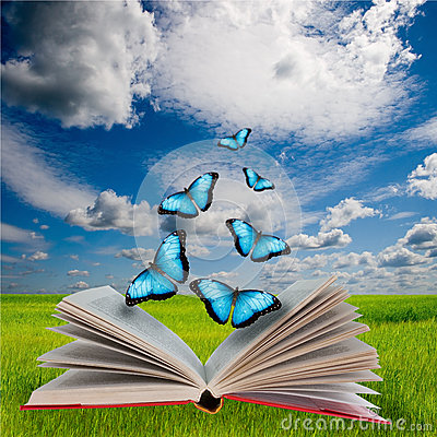 Different butterflies flying out of a book