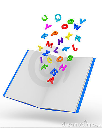 Open Book with Colorful Letters on white backgroun