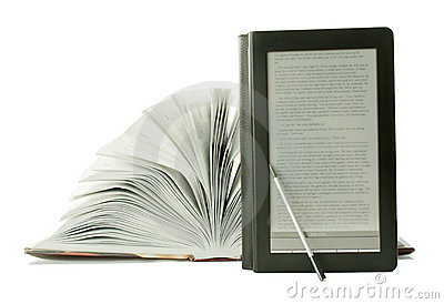 Open book and ebook reader